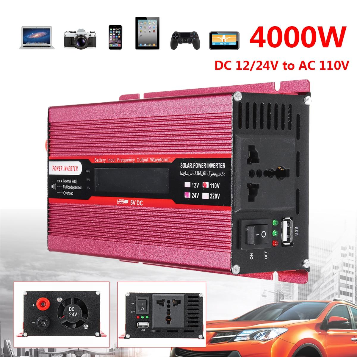 PEAK 4000 W 12/24 V AC 220/110 V автомобиля Мощность инвертор USB модифицированный синус преобразователь волна Напряжение защиты трансформатора красная ...