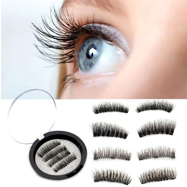 e07fed81cbd 4Pcs/Pair Triple Magnetic Eyelashes Hair Extension Lash Box Natural Wispy  Fake Eyelash Packaging Eye