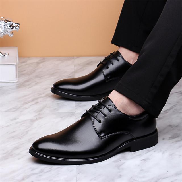 zapatos formales de cuero de marca Merkmak para hombre Zapatos de vestir con cordones zapatos Retro de moda Oxfords calzado de trabajo elegante