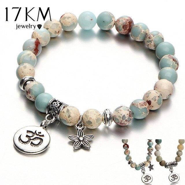 17KM Vintage OM Rune Strand Bracelets & Bangles For Women Men Natural Stone Handmade Cuff Wristband Beads Yoga Bracelet Gift New