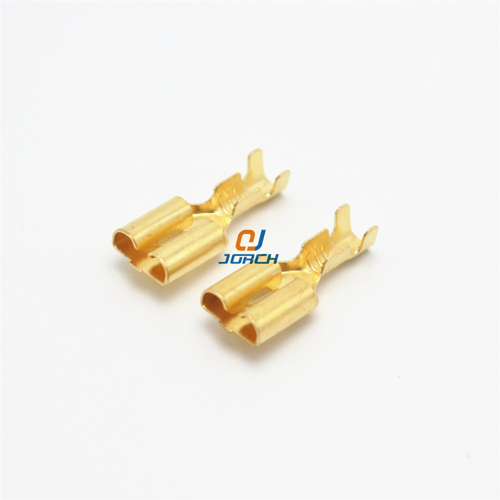 100 pcs 6.3mm Female Crimp Terminal Connector Gold Brass Car Speaker Electric Wire Connectors pins Set100 pcs 6.3mm Female Crimp Terminal Connector Gold Brass Car Speaker Electric Wire Connectors pins Set
