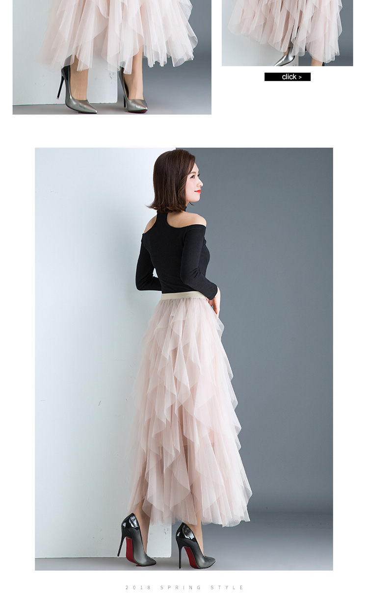 Women irregular Tulle Skirts Fashion Elastic High Waist Mesh Tutu Skirt Pleated Long Skirts Midi Skirt Saias Faldas Jupe Femmle 43