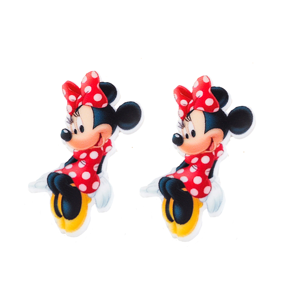 MDCT 38*23mm 10Pcs Red Bowtie White Polka Dots Mouse Cartoon Planar Resin Craft DIY Kids Hair Jewelry