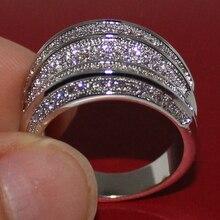 Vitoria Wieck Oro Blanco Diamante Simulado Pavimentada CZ Diamonique Wedding Band Anillo Grande Para Las Mujeres de Compromiso Joyería