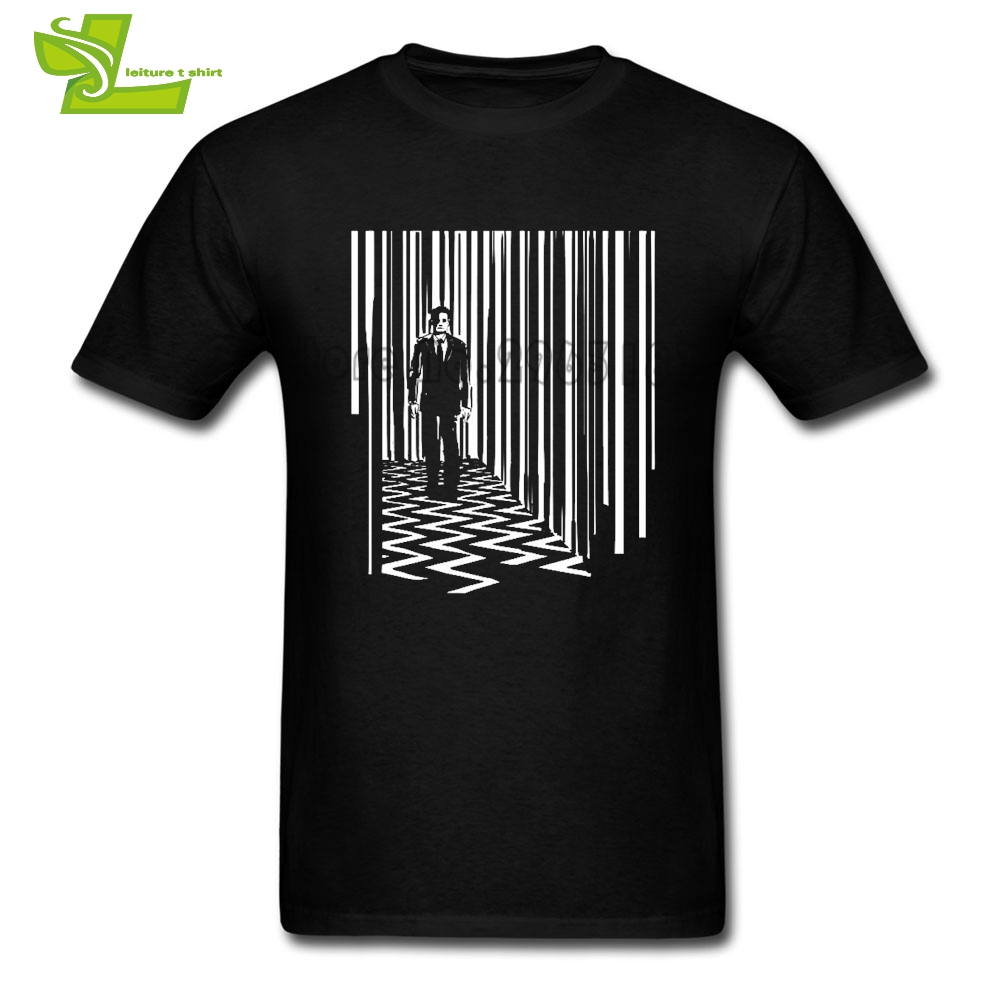 Black Lodge Twin Peaks T Shirt Men Summer 100% Cotton Club Tee Adult Big Clothing Printed Summer Comfortable Dad Tee Shirts