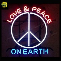 Neon Sign LOVE PEACE ON EARTH Fordd Built Tough Glass Tube Sign Yamahaa Mortorcycle Genuine Parts