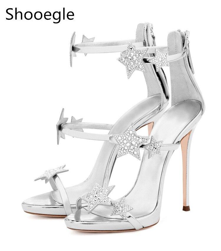 Date d'été cristal étoile Stud mince talons hauts femmes sandales arrière Zip plate-forme bout ouvert strass pompes argent noir Rose or
