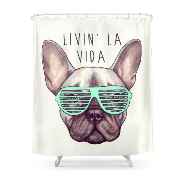 French Bulldog Livin La Vida Frenchie Shower Curtain In