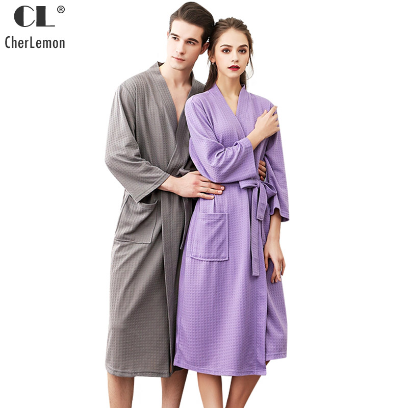 4b9aa8a8cd CherLemon Couple s Summer Waffle Weave Towel Bathrobes Men and Women Unisex  Sleepwear Robe Solid Kimono Long Spa Robes Plus Size