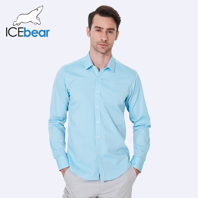 ICEbear 2017 Spring summer Men Shirts Business Long Sleeve Solid Color Turn-Down Collar Men Clothing Shirt Men Clothes HM01D