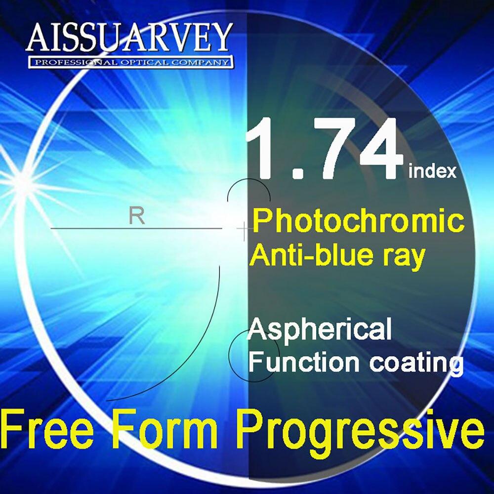 1.74 Index forme libre verres progressifs Anti-blue Ray photochromique multifocale asphérique lecture bifocale Top qualité gris clair