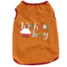 New pet puppy summer vest birthday t-shirt clothes print girl boy dog Orange and Purple shirt