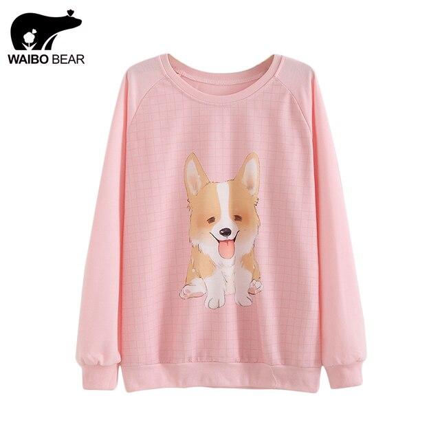 Autumn Winter Women Hoody Cartoon Dog Print Pink Hoodies Round Neck Harajuku 2017 Thin Sweatshirts Sudaderas WAIBO BEAR