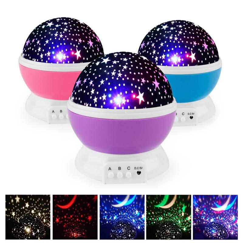 Nouveauté LED rotatif étoile projecteur éclairage lune ciel étoilé enfants bébé nuit sommeil lumière batterie lampe de Projection d'urgence