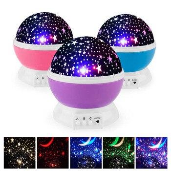 Novelty LED Rotating Star Projector Lighting Moon Starry Sky Children Baby Night Sleep Light Battery Emergency Projection Lamp