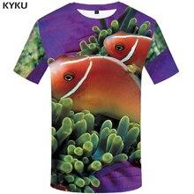 KYKU 3d Fish T-shirt Men Animal Print T Shirt Fishinger Funny Shirts Tropical Tshirt Summer Hip Hop Mens Clothing Tops S-6xl