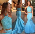 H007 Lace Top Mermaid Prom Dresses 2016 Sexy Halter Two Pieces Vestido De Festa Formal Pageant Party Prom Dress robe de soiree
