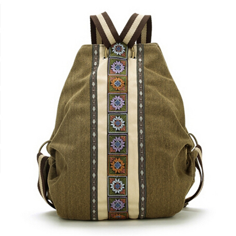 ФОТО Linen & Cotton Tribal Ethnic Embroidered Floral Backpack Women Travel Rucksack School bag sac a dos femme mochila feminina