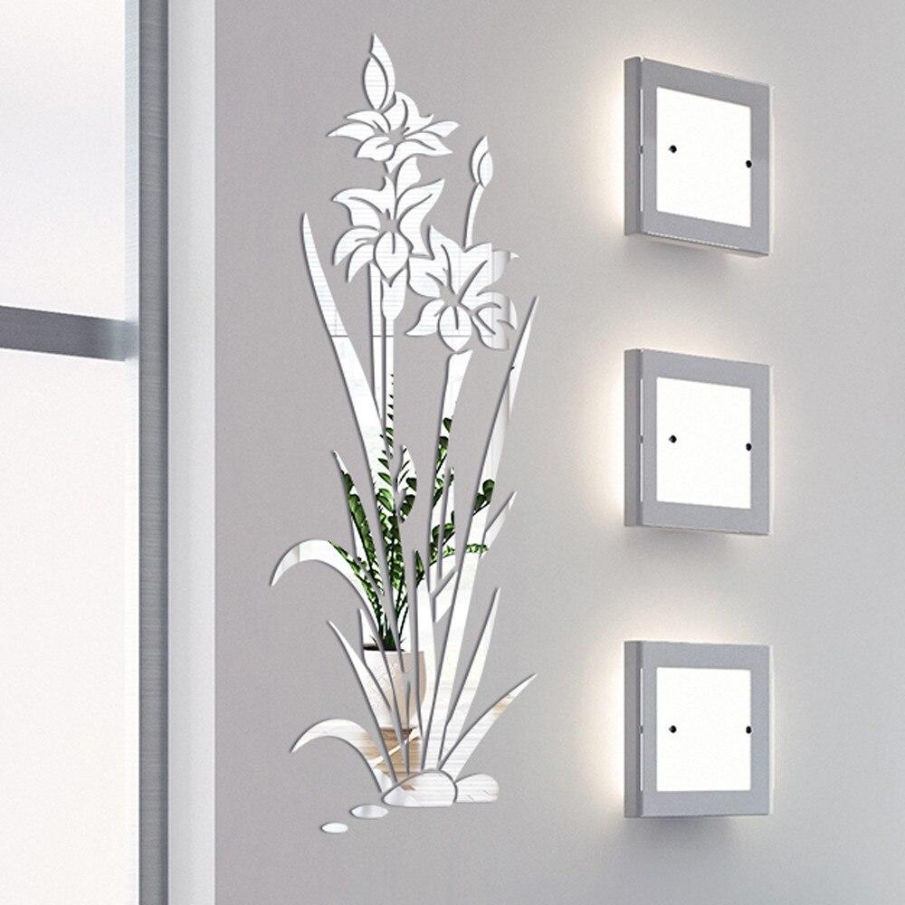 3D DIY flor de loto espejo pared pegatina extraíble arte acrílico Mural pegatinas para sala de estar dormitorio TV pared hogar decoración