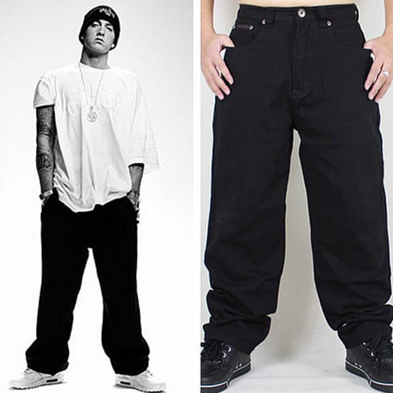 Hip Hop Jeans 2016 New Arrival Cool Black Jeans Baggy Loose Fit Skateboarder Jeans Mens TC154
