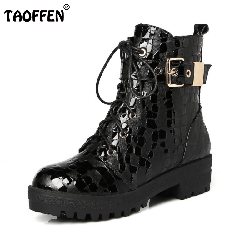 Women Genuine Leather Martin Boots Woman Lace Up Round Toe Flat Shoes Fashion Buckle Short Shoes Footwear Size 34-42 women fashion round toe martin boots woman brand new lace up flat ankle boot ladies buckle wrap footwear shoes size 34 47