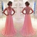 Venda quente rosa Chiffon Lace apliques A linha Prom vestidos longos 2016 Sexy V Neck mangas até o chão vestido de baile 22403