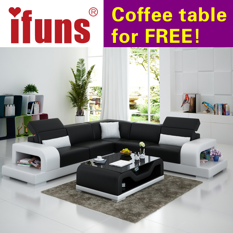 Ifuns Cheap Sofa Sets Home Furniture Wholesale White Leather L Shape Modern Design Recliner