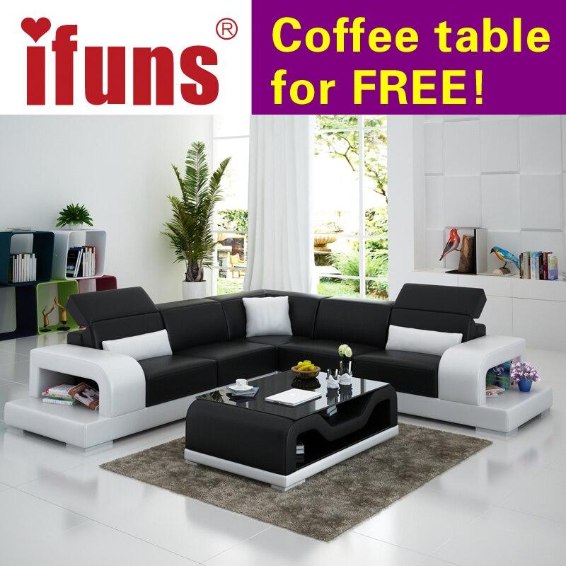 US $3436.0 |Ifuns set di divani mobili per la casa a buon mercato  all\'ingrosso reclinabile chaise divano ad angolo in pelle bianca l shape  design ...