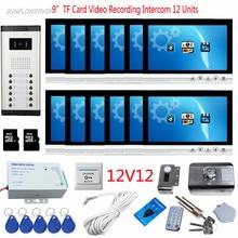 Wholesale 12 Apartmetns 9″ Color 8GB TF Card Recording Video Door Phone Intercom System Doorbell With Camera Housekeeper + Rfid Door Lock