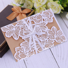 Hollow Out Luksus Laser Cut Bryllup Invitationer Elegant Kort Set Baby Shower With Ribbon Free Envelope & Seals Party Supplies