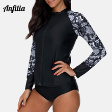Anfilia Women Long Sleeve Zipper Rashguard Shirt Swimsuit Retro Print Swimwear Surfing Top Diving Shirts Rash Guard UPF50+