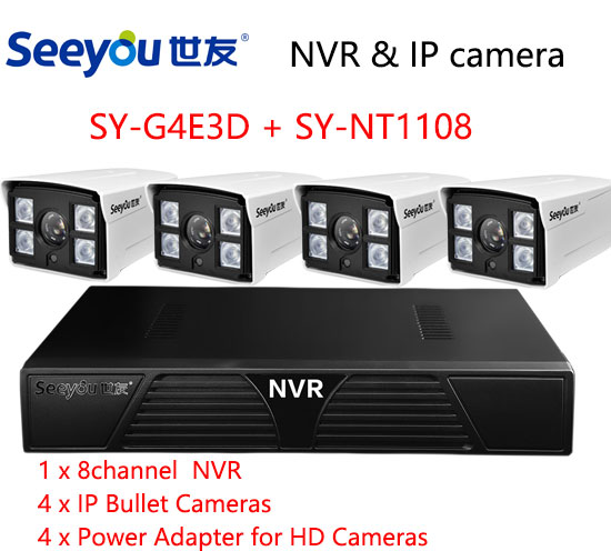 Seeyou 960P Security Camera Kit NVR SY-NT1108 & IP Camera SY-G4E3D Security CCTV System  ...
