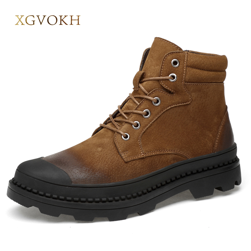 Boots Men Warm Winter Leather Motorcyxle Boot Shoes for Men Casual Flats Lace-Up Autumn Work Tooling Boots Military Mens Shoes