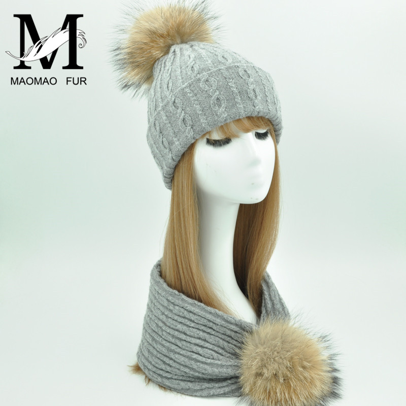 New Hat Scarf Set Real Big Fur Pom Pom Hats Thick Double-deck Beanie Warm Winter Knitted Scarf Hat Set Women