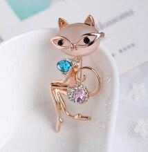 Супер-элегантные знатная дама кот опал брошь корея высокое качество воротник контактный личность аксессуары одежды