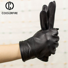 Genuine Leather Gloves Men Winter Warm Glove High Quality Real Sheep Mittens Sheepskin For ST039