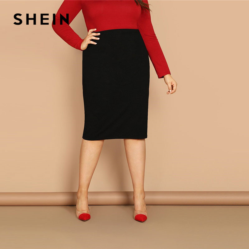 US $12.0 40% OFF|SHEIN Black Solid Women Plus Size Elegant Pencil Skirt  Spring Autumn Office Lady Workwear Stretchy Bodycon Knee Length Skirts-in  ...