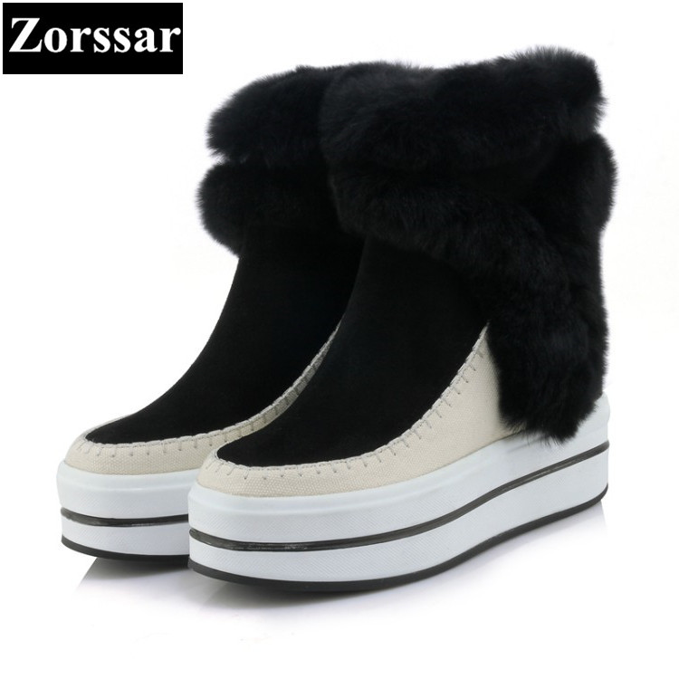 {Zorssar} 2017 NEW Classic winter Plush Women Boots cow Suede Ankle Snow Boots Female Warm Fur women shoes platform leather 2017 cow suede genuine leather female boots all season winter short plush to keep warm ankle boot solid snow boot bota feminina