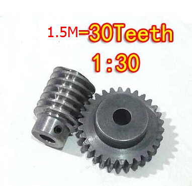 1.5M-30T reduction ratio:1:30 45Steel worm gear reducer transmission parts wore gear hole:10mm rod hole:10mm bevel gear 15teeth 45teeth ratio 1 3 mod 2 45 steel right angle transmission parts diy robot competition m 2