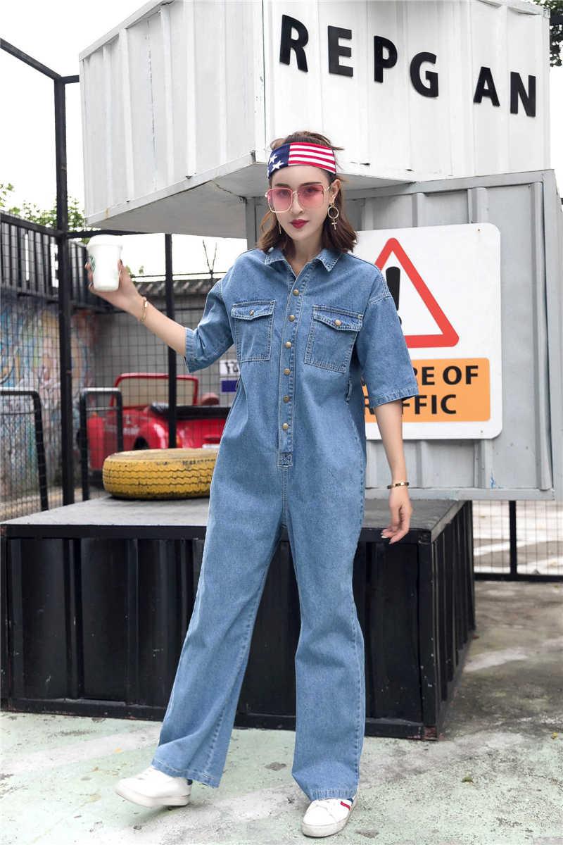 Новинка 2019 года; сезон весна-лето; Новое поступление; женские повседневные Дизайнерские джинсовые комбинезоны с поясом; комбинезоны для девочек; уличная одежда