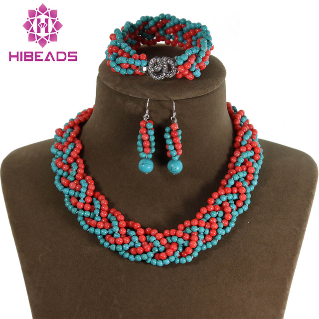 New&Fashion!Handmade Knitted Stone&Coral Set  Marvelous Native American Jewelry Set Vintage African Jewelry Set TN052