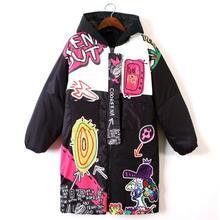 Верхняя одежда с принтом граффити в стиле Харадзюку для девочек, для студентов, в стиле хип-хоп, толстый теплый кардиган, дизайн BF, большой размер, свободное зимнее пальто