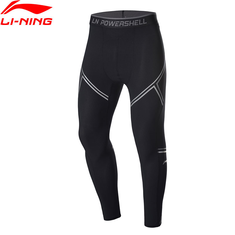 Li-Ning Men Training Base Layer Pants Stretchy Breathable 77.4%Nylon 22.6%Spandex Li Ning LiNing Sports Tights AULP033 MKY502