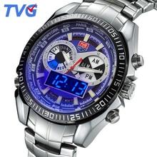 TVG watches 2016 New Men's LED Casual Quartz Watch Men luminous waterproof Fashion Male Quartz-watch stainless steel Wristwatch