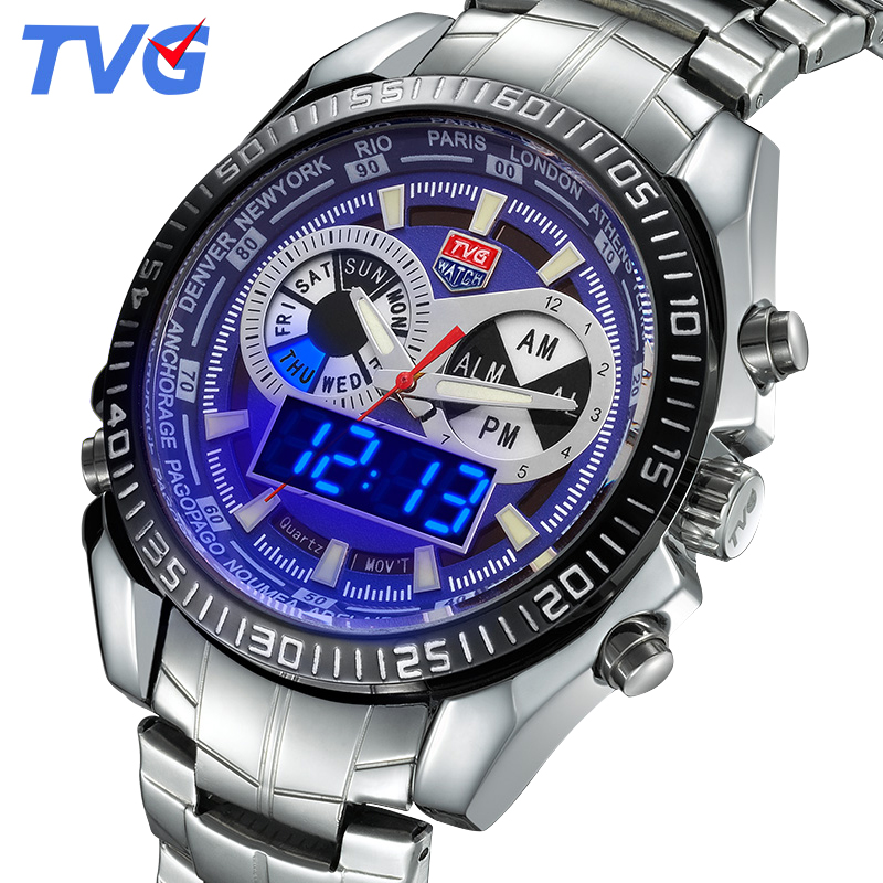 ФОТО TVG watches 2016 New Men's LED Casual Quartz Watch Men luminous waterproof Fashion Male Quartz-watch stainless steel Wristwatch