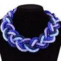 Top fashion mulheres únicas feitas à mão 6 fios de malha cadeia estilo marinha azul cristal grande colar