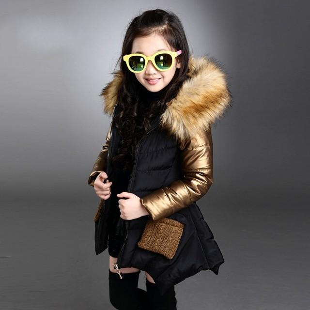 Nova Moda Crianças Jaqueta de Inverno de Espessura Quente Para Baixo Casaco Para A Menina Hiver Manteau Fille 4-13Y Encapuzados Meninas Casaco de Inverno
