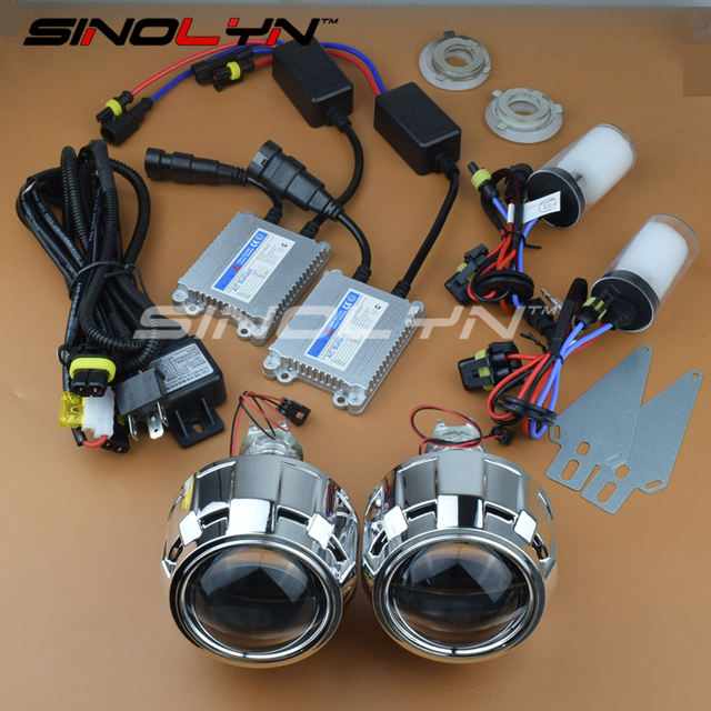 SINOLYN Стайлинга Автомобилей 2.5 дюйм(ов) HID Би ксенон Объектив Проектора LHD/RHD Полный Комплект Фары Линзы H4 H7 4300 К 5000 К 6000 К