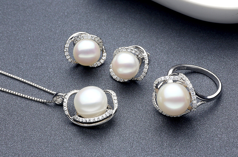 silver pearl earring ring necklace set TZ10121WR-TZ10121WP-TZ10121WE