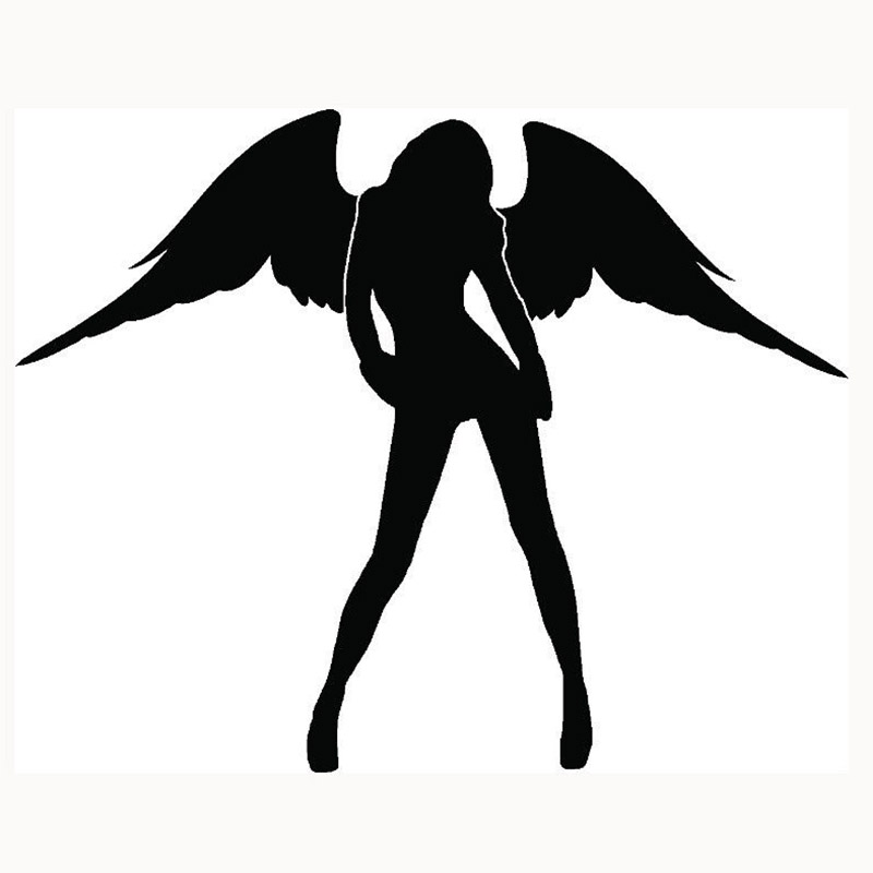 HotMeiNi 39.77 x 50cm 2X Cute Angel Sticker Sexy Car Sticker For Cars Door Side Truck Window Rear Windshield Vinyl Black/Sliver hot sale custom decals for cars uv protection 3m car vinyl wrap rear windshield high beam ghost decal sticker with suction cup